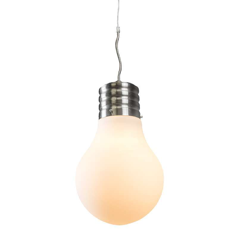 Pendant lamp bulb steel with white opal glass lampandlight ie