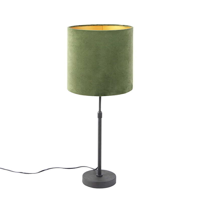 Table Lamp Black With Velor Shade Green With Gold 25 Cm Parte Lampandlight