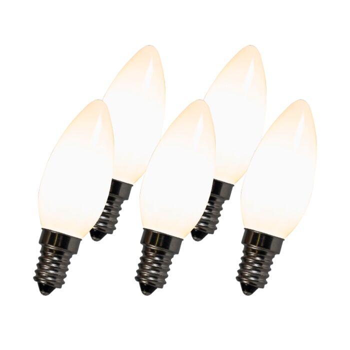 Set-of-5-LED-Filament-Candle-Bulbs-C35-E14-2W-White