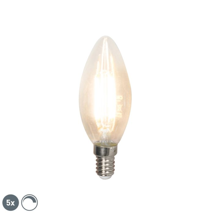 Set-of-5-E14-dimmable-LED-filament-candle-lamps-350-lm-2700K