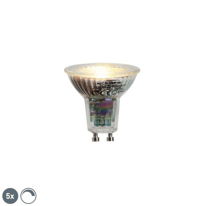 Set-of-5-GU10-LED-lamp-6W-450lumen-2700K-dimmable