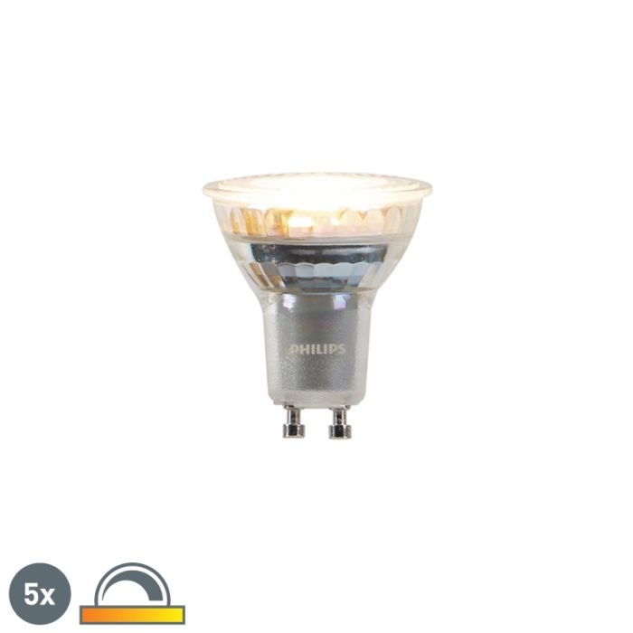 Set-of-5-GU10-dim-to-warm-Philips-LED-lamps-3.7-W-260-lm