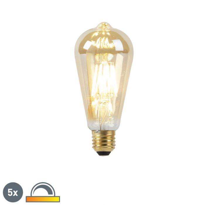 Set-of-5-E27-LED-ST64-Goldline-Filament-8W-900LM-2000K-2600K