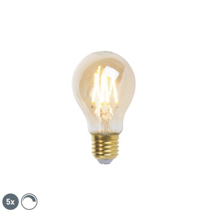 Set-of-5-E27-dimmable-LED-filament-lamps-goldline-360lm-2200K