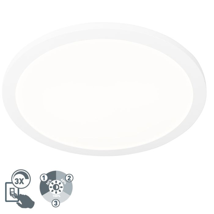 Ceiling-lamp-white-40-cm-incl.-LED-3-step-dimmable-IP44---Steve