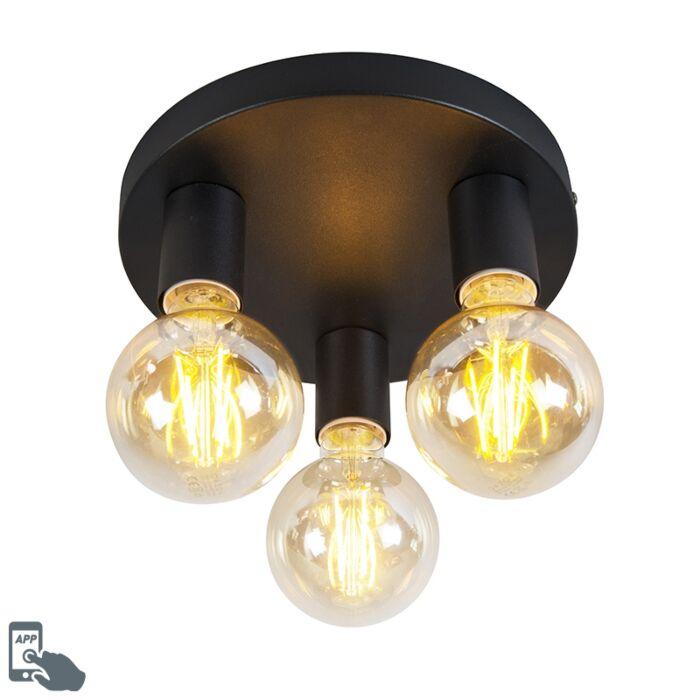 Smart-modern-ceiling-lamp-black-incl.-3-WiFi-G95---Facil