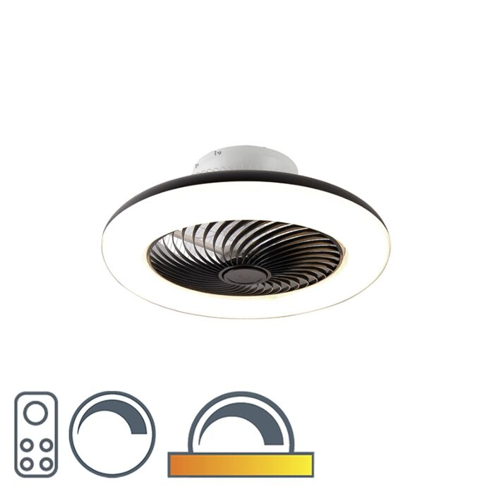 Ceiling-fan-black-incl.-LED-with-remote-control---Clima