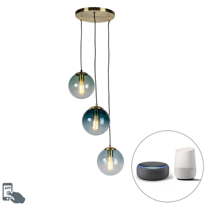 Smart-hanging-lamp-brass-incl.-3-WiFi-ST64-with-blue-glass---Pallon