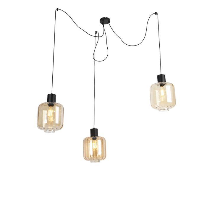 Design-hanging-lamp-black-with-amber-glass-3-light-226-cm---Qara