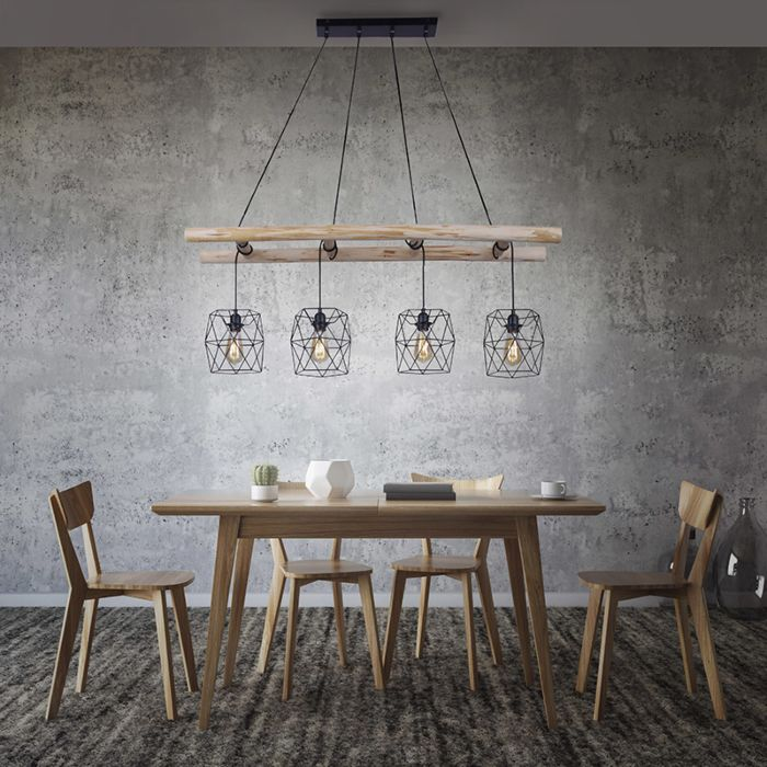 Industrial-hanging-lamp-black-with-wood-4-light---Mediena
