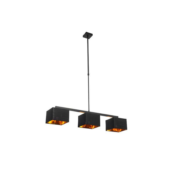 Modern-hanging-lamp-black-with-gold-88-cm-3-light---VT-3