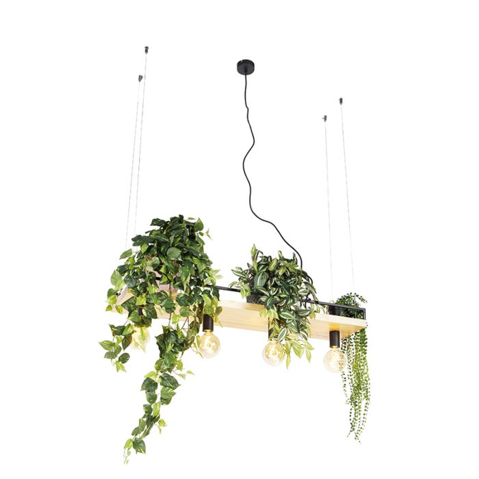 Industrial-hanging-lamp-black-with-wood-4-light---Shelf