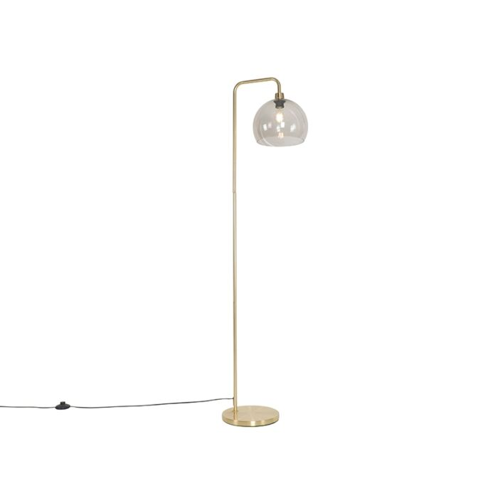 Modern-floor-lamp-brass-with-smoke-glass---Maly