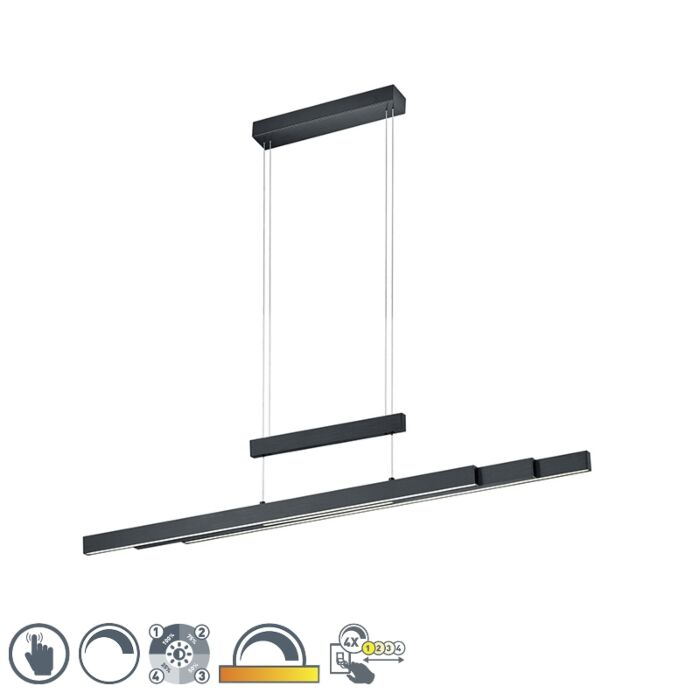 Hanging-lamp-black-incl.-LED-with-touch-dimmer-3-light---Sofie