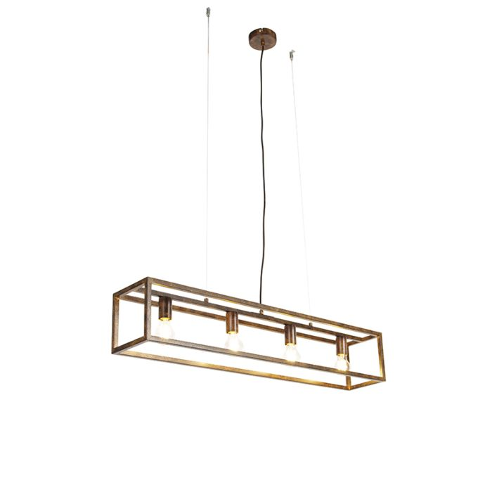 Industrial-hanging-lamp-rusty-brown-4-light---Cage