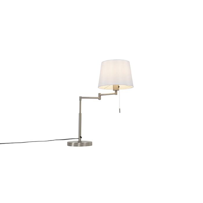 Table-lamp-steel-with-white-shade-and-adjustable-arm---Ladas