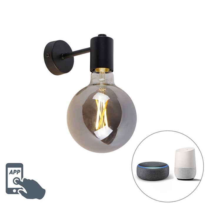 Smart-wall-lamp-black-incl.-WiFi-G125-smoke-glass---Facil-1