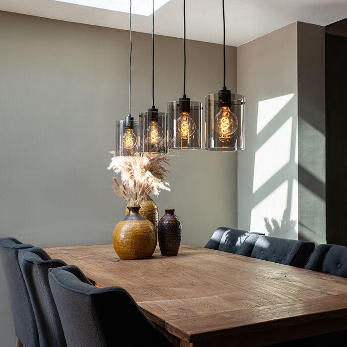 Design-hanging-lamp-black-with-smoke-glass-4-light---Dome