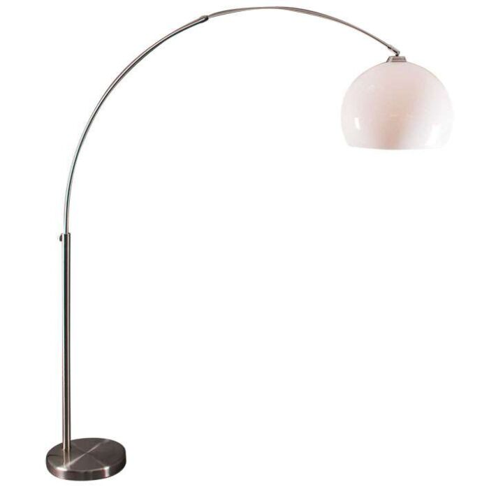 Steel-Arc-Lamp-with-White-Plexi-Shade.