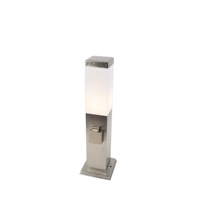 Modern-Outdoor-Pole-45cm-Steel-with-Socket-IP44---Malios