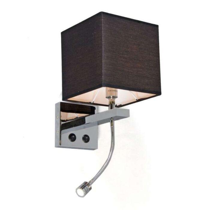Wall-Lamp-Brescia-Chrome---Black-Shade