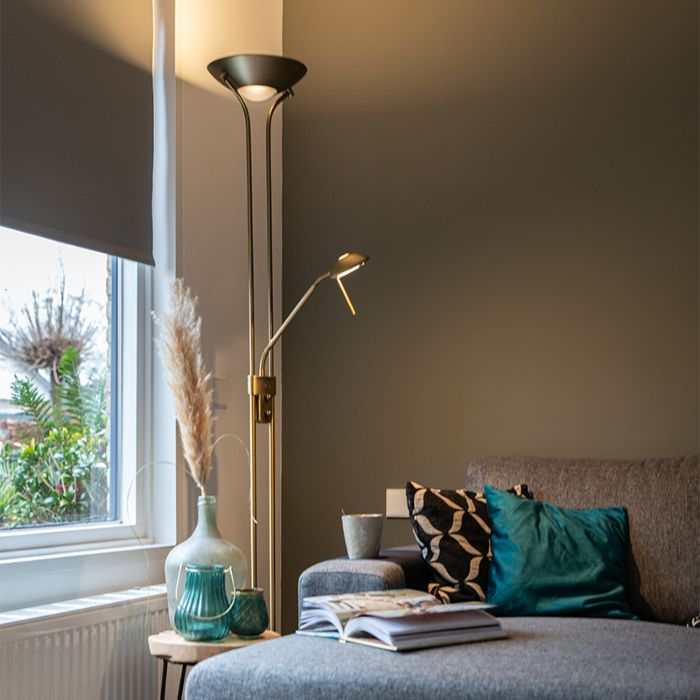 Bronze-floor-lamp-with-reading-lamp-incl.-LED-and-dimmer---Diva-2