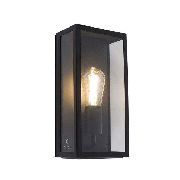 Industrial-rectangular-exterior-wall-lamp-black-with-glass-IP44---Rotterdam