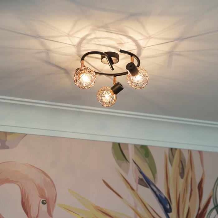 Modern-Ceiling-Spotlight-Copper-with-Black---Mesh-3