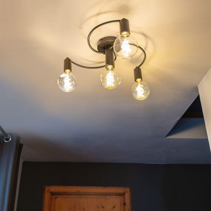 Art Deco Ceiling Lamp 4 Black - Facil | Lampandlight