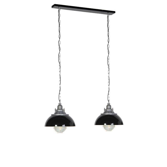 Industrial-Pendant-Lamp-2-Black-with-Inner-White-Frame---Nelly
