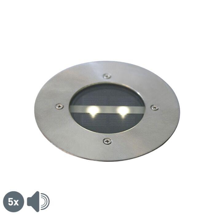 Modern-ground-spot-steel-solar-energy-set-of-5-IP44---Tiny