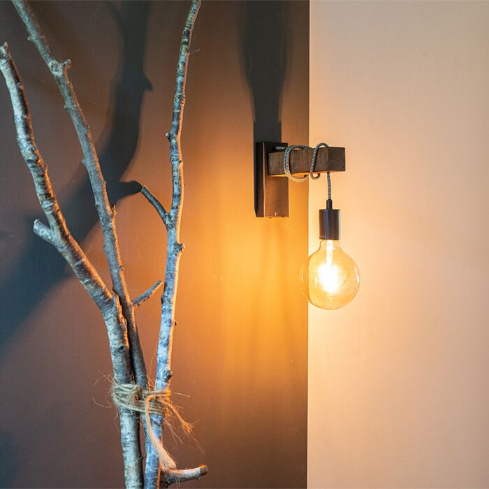 Industrial-wall-lamp-black-with-wood---Gallow
