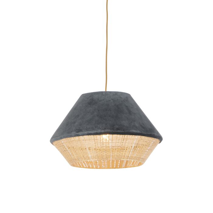 Rural-hanging-lamp-gray-velvet-with-cane-45-cm---Frills-Can