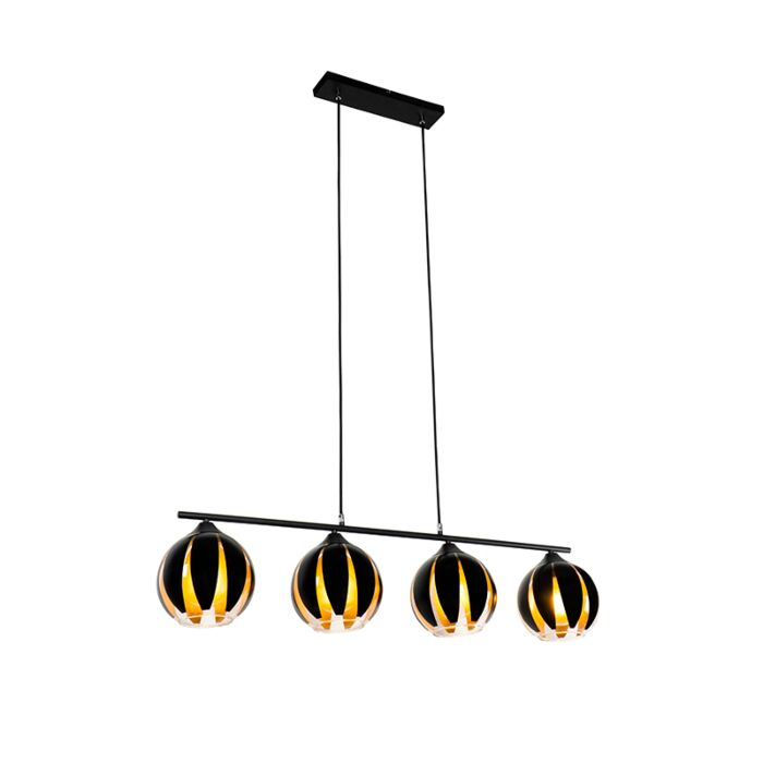 Design-hanging-lamp-black-with-gold-4-lights---Melone
