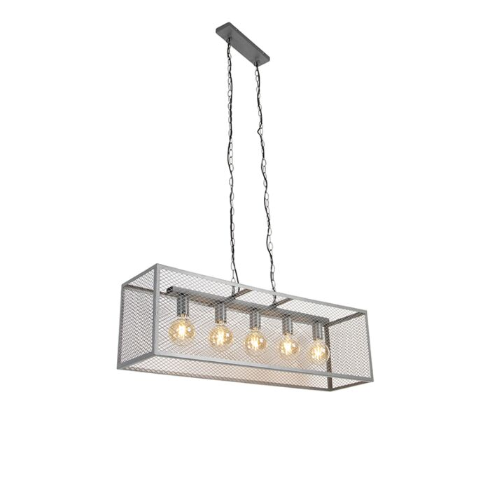 Industrial-hanging-lamp-antique-silver-5-light---Cage-Robusto