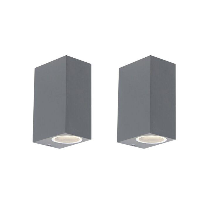 Set-of-2-Modern-Wall-Lamp-Anthracite-IP44---Baleno-II
