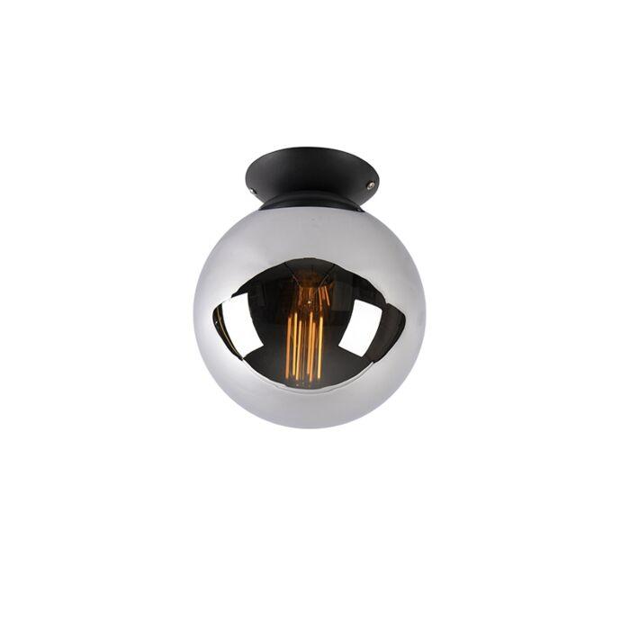 Art-Deco-Ceiling-Lamp-20cm-Black-with-Smoke-Shade---Pallon