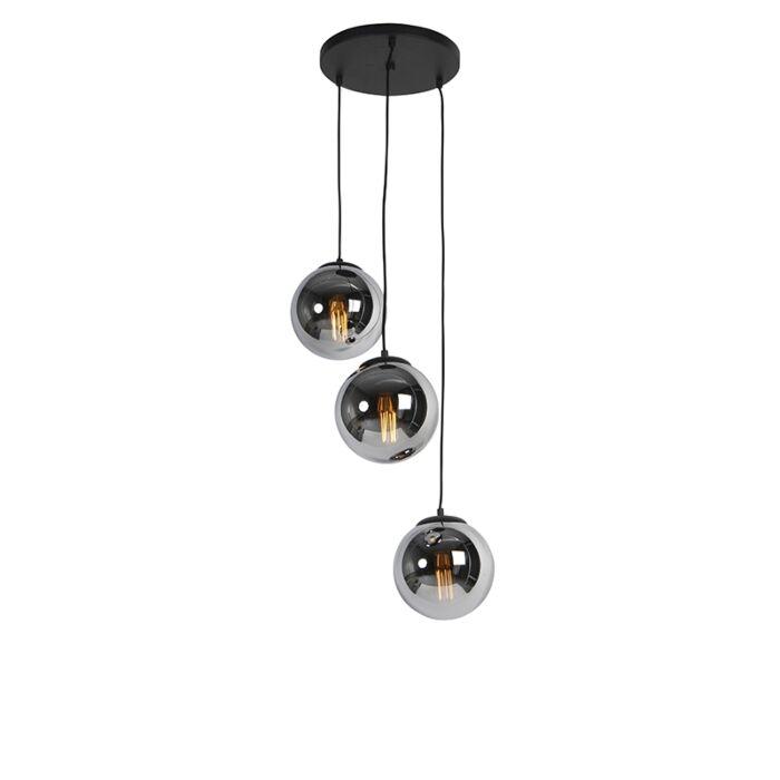 Art-Deco-hanging-lamp-black-with-smoke-glass-3-light---Pallon