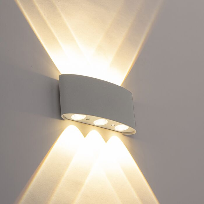Design-outdoor-wall-lamp-silver-incl.-LED-6-lights---Silly