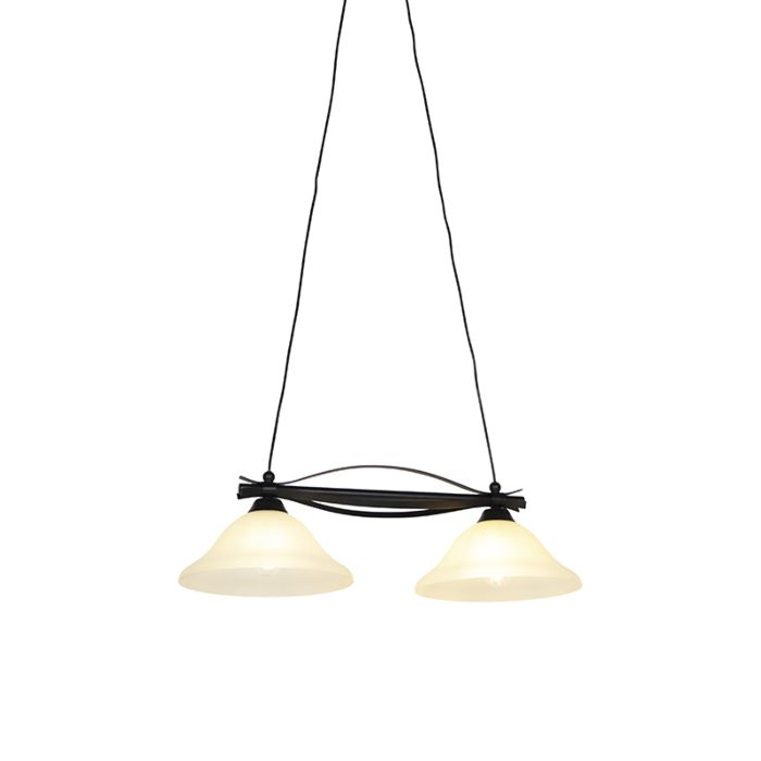 Classic-hanging-lamp-brown-with-beige-glass-2-light---Pirata