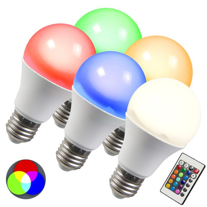 Set-of-5-E27-LED-RGB-10W-Warm-White