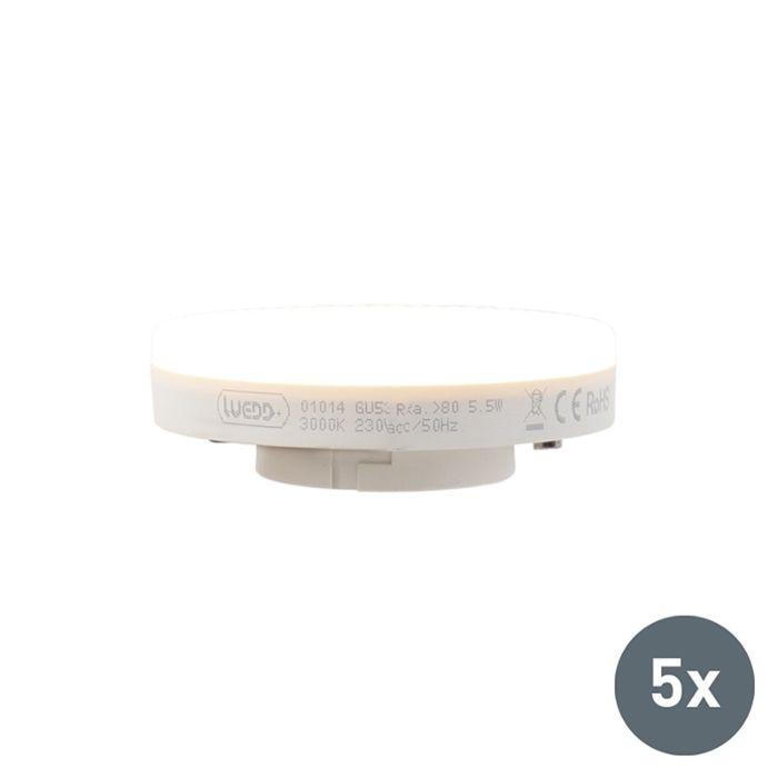 Set-of-5-GX53-LED-lamp-5.5W-470LM-3000K