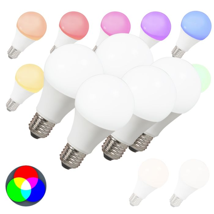 Set-of-5-E27-LED-Smart-RGB-A60-7W-500LM