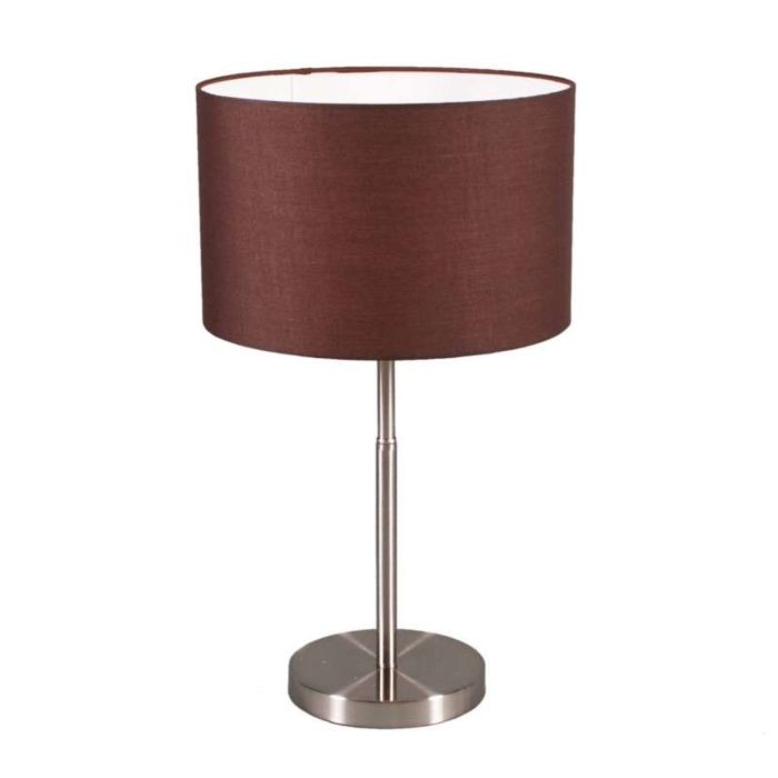 Table-Lamp-Drum-Steel-and-Brown-Shade
