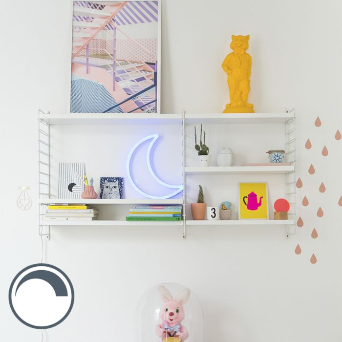 Wall-lamp-Blue-Neon-with-Remote-Control-incl.-LED---Crescent-Moon
