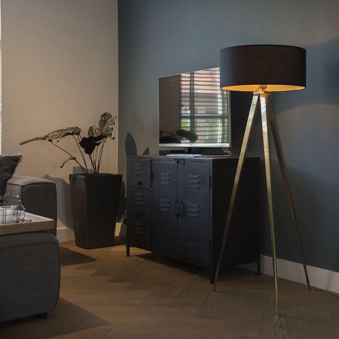 Floor-Lamp-Tripod-Tripe-Brass-with-Black-Shade
