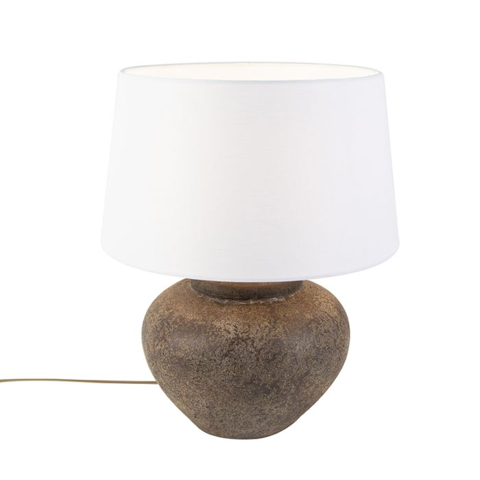 Country-Table-Lamp-with-White-45cm-Shade---Palma