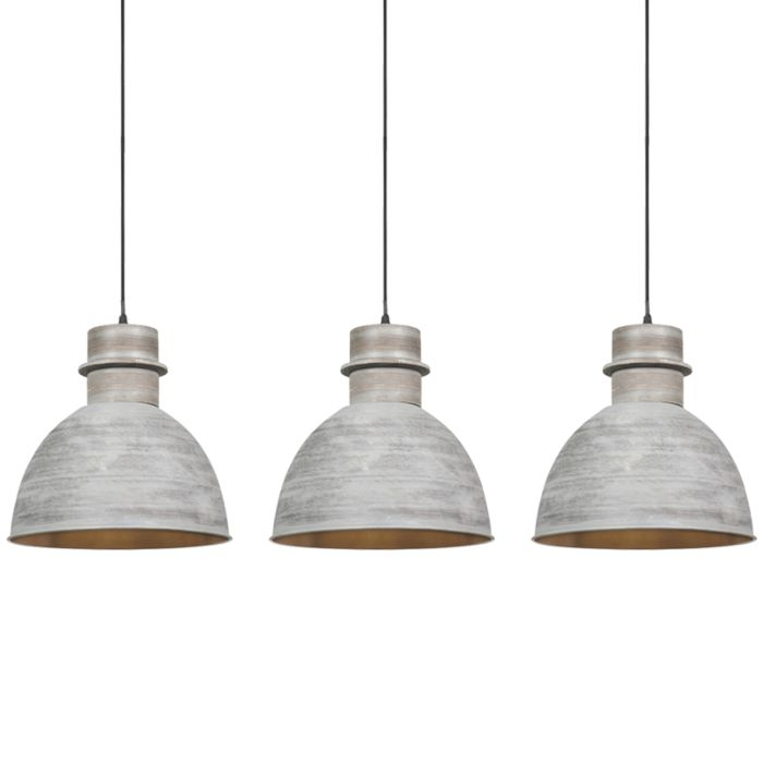 Set-of-3-country-hanging-lamps-gray---Dory