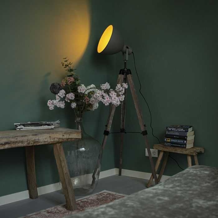 Industrial-floor-lamp-on-wooden-tripod-with-gray-shade---Laos
