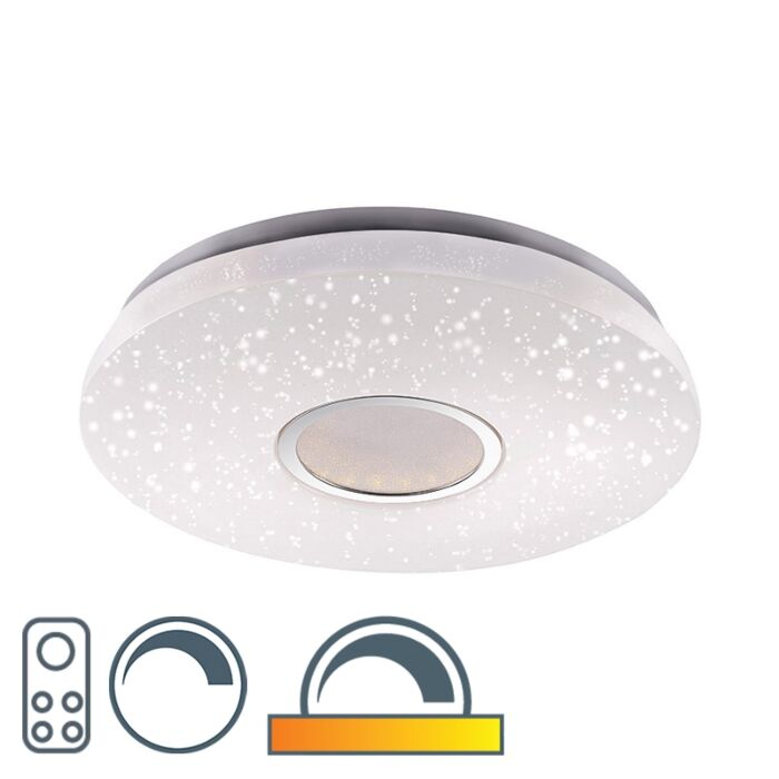 Modern-Round-Ceiling-Lamp-White-46cm-with-Starry-Sky-incl-LED-22W-1350LM---Jona